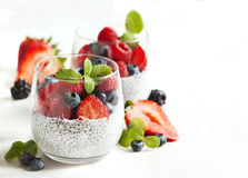 Chia seed pudding with berries Royalty Free Stock Photo
