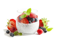 Chia seed pudding with berries. Royalty Free Stock Photography