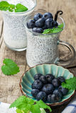 Chia seed pudding with blueberries Royalty Free Stock Photo