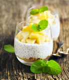 Chia seed pudding with caramelized apple and crushed grain cookies. In glass cup Royalty Free Stock Images
