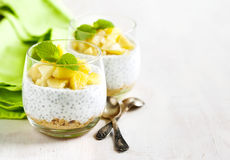 Chia seed pudding with caramelized apple and crushed grain cookies. In glass cup Stock Photography