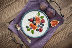 Chia seed pudding  with figs Stock Photo