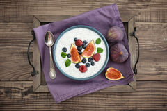 Chia seed pudding  with figs Royalty Free Stock Photos
