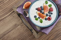 Chia seed pudding  with figs Stock Images
