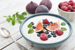 Chia seed pudding  with figs Stock Image
