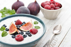 Chia seed pudding  with figs Royalty Free Stock Image