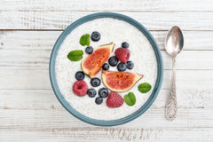 Chia seed pudding  with figs Stock Photos