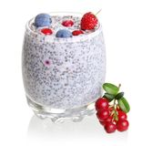 Chia seed pudding and forest berries Stock Photo