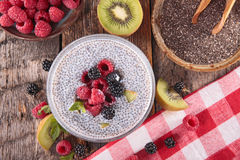 Chia seed pudding. With fruits Stock Images