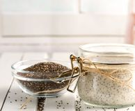 Chia seed pudding in glass jar. Superfoods concept with copy spa stock photos