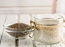 Chia seed pudding in glass jar. Superfoods concept with copy spa royalty free stock photography