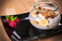 Chia seed pudding with nuts Royalty Free Stock Photography