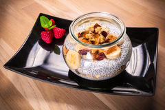 Chia seed pudding with nuts Stock Photos