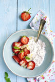 Chia seed pudding with strawberry in a bowl. Stock Photos