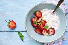Chia seed pudding with strawberry in a bowl. Stock Photo