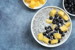 Chia Seed Pudding Top View mit Blaubeeren Mango und Kokosnuss Stockbilder