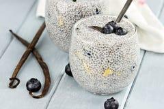 Chia Seed Pudding und Frucht lizenzfreie stockfotografie