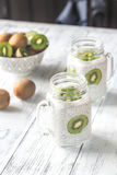 Chia seed puddings with kiwifruit slices Stock Photography
