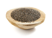 Chia seed served in a wooden bowl royalty free stock photography