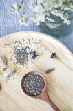 Chia seed in spoon put on tray Stock Photo