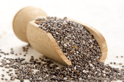 Chia seed on a wooden shovel Stock Image