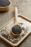 Chia seed on a wooden spoon. Against burlap background stock photo