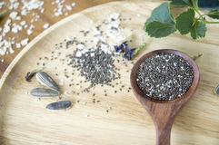 Chia seed in wooden spoon Royalty Free Stock Photography