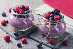 Chia seeds acai pudding Stock Images