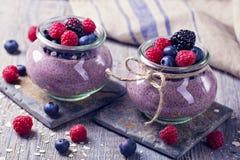 Chia seeds acai pudding Stock Photos