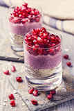 Chia seeds acai pudding Royalty Free Stock Photography