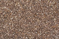 Chia seeds background. Close up chia seeds texture as superfood, organic and healthy food concept. Chia seeds top view background. royalty free stock photos