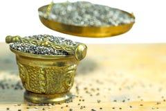 Chia seeds on a balance Royalty Free Stock Image