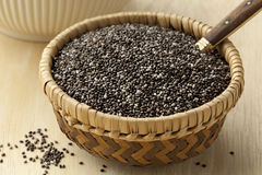 Chia seeds in a basket Royalty Free Stock Image