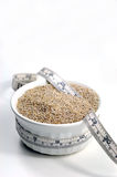 Chia seeds in bowl with measuring tape Stock Images