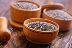 Chia seeds. In bowls and on a table Royalty Free Stock Photo