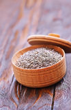 Chia seeds. In bowls and on a table Royalty Free Stock Image