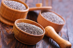 Chia seeds. In bowls and on a table Royalty Free Stock Photos