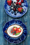 Chia seeds coconut pudding with berries Royalty Free Stock Image