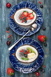 Chia seeds coconut pudding with berries and fruit. Royalty Free Stock Photography