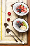 Chia seeds coconut pudding with berries and fruit. Stock Image