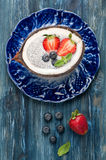 Chia seeds coconut pudding with berries Stock Photography