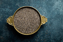 Chia seeds on dark baclground directly above Royalty Free Stock Photos