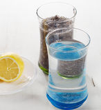 Chia seeds drink with a water  and lemon. Stock Photo