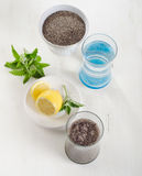 Chia seeds drink with a water, mint and lemon in a glass. Stock Images