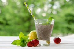 Chia seeds drink with water in transparent glass. With lemon, mint and strawberry. outdoor photo Stock Photography