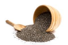 Chia Seeds in een Houten Kom Royalty-vrije Stock Afbeelding