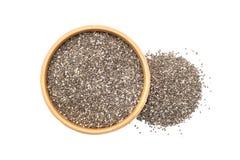 Chia Seeds in einer hölzernen Schüssel Lizenzfreie Stockbilder