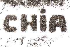 Chia seeds in the form of the word CHIA royalty free stock photo