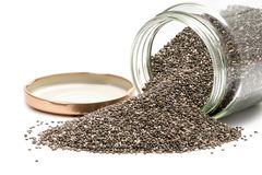 Chia seeds in a glass jar Royalty Free Stock Photography