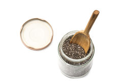 Chia seeds in a glass jar Stock Photography
